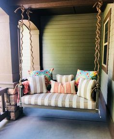35 Rethink Your Outdoor Space by Channeling This Dreamy Porch Swing Outdoor Living Outdoor porch swings are a classic accent on the porch of a . Porch To Sunroom, Porch And Balcony, Porch Bed, Balcony Ideas, Front Porch, Small Porch Decorating, Zen, Deep Seat Cushions, Outdoor Shade