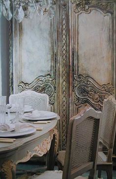 Dining fabulously French chateau style.  Could be done with ascp annie Sloan chalk paint