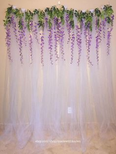 Tulle Backdrop Curtain Photo Booth with Hanging Wisteria Flo.- Tulle Backdrop Curtain Photo Booth with Hanging Wisteria Flowers Tulle Backdrop Curtain Photo Booth with Hanging Wisteria Tulle Backdrop, Diy Photo Backdrop, Diy Wedding Backdrop, Photo Backdrops, Backdrop Ideas, Wedding Centerpieces, Lavender Wedding Decorations, Tulle Decorations, Birthday Backdrop