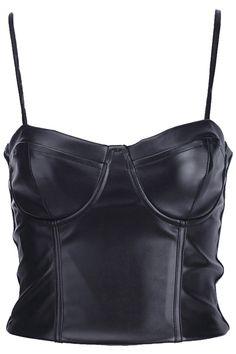 Black Leather Bandeau