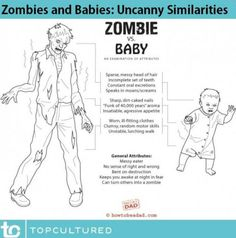Zombies and babies - uncanny similarities. Happily childfree by choice, thanks.