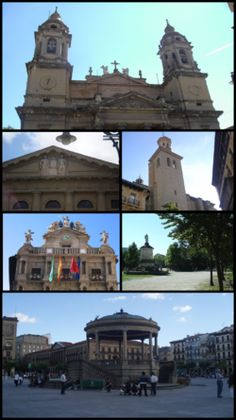 Top: Cathedral of Royal Saint Mary; second left: Navarra Palace; second right: San Saturnino Church; third right: Monument of Julian Gayarre in Taconera Park; Oh The Places You'll Go, Places Ive Been, Running Of The Bulls, Balearic Islands, Spain And Portugal, Study Abroad, Cathedral, Castle, San