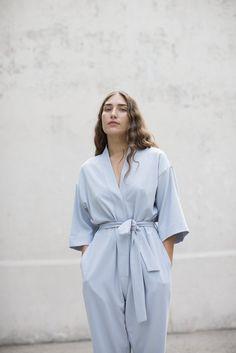 Jesse Kamm Kimono Jumpsuit in Powder Blue | Oroboro Store | Brooklyn, New York