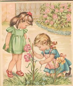 Girls in the flower garden -- by Mariapia Franzoni (Italian, via ilclandmariapia Images Vintage, Art Vintage, Vintage Children's Books, Vintage Girls, Vintage Pictures, Vintage Postcards, Vintage Prints, Garden Illustration, Retro Illustration