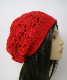 Red Slouch Crochet Ladies Hat Teenagers hat Winter by HookMadness, $22.00