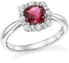 Bloomingdale's Cushion-Cut Pink Tourmaline and Diamond Ring in 14K White Gold - 100% Exclusive