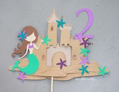 #Mermaid #Sandcastle Cake Topper 2nd Birthday #Party