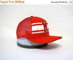 SALE Vintage Letterman Hat M  Red Striped Mesh by MODernThrowback