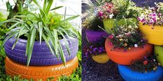 nice way of disposing of old tyres  and makes a large plant pot