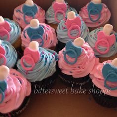 Pink & Blue Baby Shower Cupcakes - Bittersweet Bake Shoppe - Tyngsboro, Massachusetts 01879
