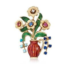 Ross-Simons - C. 1960 Vintage Multi-Stone Floral Pin in 18kt Yellow Gold - #820912