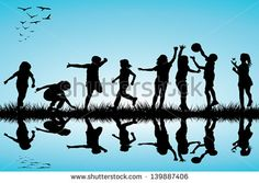 Group of children silhouettes playing outdoor - stock vector