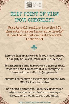 Are You Using DEEP POV? Here's the One Stop For Writers checklist!