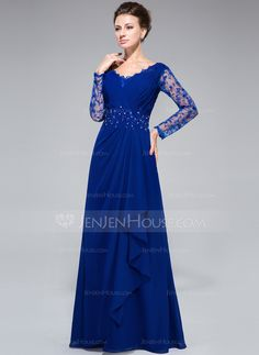 A-Line/Princess V-neck Floor-Length Chiffon Lace Mother of the Bride Dress With Beading Sequins Cascading Ruffles (008050416)
