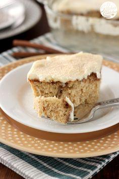 Eggnog Cinnamon Roll Cake with Eggnog Cream Cheese Frosting