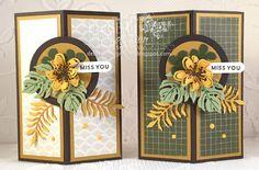 Decorative Corner Card Fold Video using Stampin' Up! Botanical Blooms and Botanical Builder Framelits Dies along with Going Places Designer Paper. Debbie Henderson, Debbie's Designs.