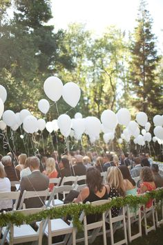 Cheap and easy with a big punch - white balloons that at the end of the ceremony can be untied and let free! Calamigos Ranch Wedding from Annie McElwain Photography Wedding Wishes, Wedding Bells, Our Wedding, Dream Wedding, Wedding Ceremony Decorations, Garland Wedding, Wedding Balloons, Wedding Chairs, Outdoor Ceremony