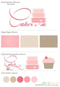 """Brand Identity Elements and Logo for small business, baker or photographer """"Ali's Pink"""". Cakes, cupcake, marketing. Girly, fancy, pretty in pink logo."""