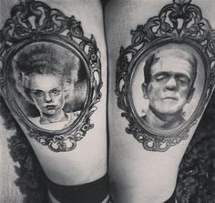 Frankenstein and his bride tattoos black and grey