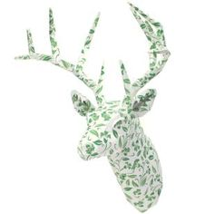 Wall Sculpture:  Animal 01 Botanical (Green),Home and Living,Paper Craft,Interior ,miscellaneous goods,green,deer,Sculpture,Wall sculpture,Botanical,Wall Decoration