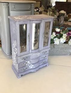Wooden Jewelry Armoire // Upcycled Vintage Jewelry Box // Painted Jewelry Box // Shabby Chic Jewelry Armoire by ByeByBirdieDesigns on Etsy https://www.etsy.com/listing/477165334/wooden-jewelry-armoire-upcycled-vintage