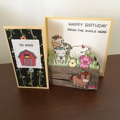 This is my first Z-Fold card and it is just too cute! I added the wood crate framelit to make a little pen for the barnyard… Z Cards, Card Tags, Kids Cards, Baby Cards, Greeting Card, 16th Birthday Card, Birthday Cards, Fancy Fold Cards, Folded Cards