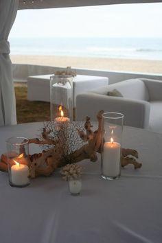 Coral Beach Wedding Centerpieces | Driftwood Coral Centerpiece Sandbridge Virginia Beach Isha Foss Events