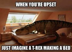 When you're upset, just imagine a T-Rex making a bed.