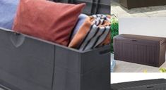 Somewhere for the outdoor cushions, the toys, footballs and bits and pieces. The below storage boxes are good value and water proof. Grey Keter Wood effect Argos B&Q also have a similar ver… Outdoor Cushions, Storage Boxes, Outdoor Furniture, Outdoor Decor, Wood, Garden, Home Decor, Storage Crates, Garten