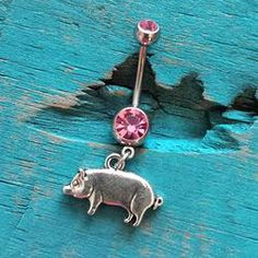 Pig Belly Button Ring Pink