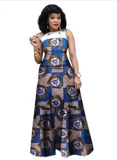 $48.07  #11  African Print African Sleeveless Sexy Dress Plus Size Dress BRW WY1341