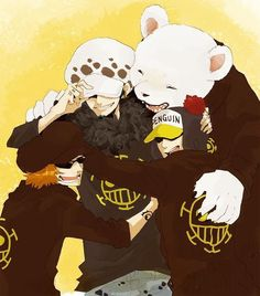 Heart Pirates - Trafalgar D. Water Law, Bepo, Penguin, and Shachi One Piece art… One Piece Anime, One Piece Comic, One Piece 1, One Piece Fanart, One Piece Luffy, Single Piece, Manga Anime, Fanarts Anime, Trafalgar Law