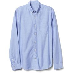 Gap Men Oxford Solid Slim Fit Shirt (€21) ❤ liked on Polyvore featuring men's fashion, men's clothing, men's shirts, men's casual shirts, mens extra long sleeve shirts, mens long sleeve oxford shirts, mens button front shirts, mens slim shirts and mens slim fit shirts