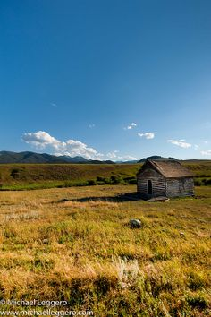 Old log cabins are scattered all over the landscape in Montana