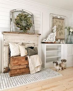 The Basic Facts Of Diy Rustic Home Decor On A Budget Living Rooms Farmhouse Style 98 Farmhouse Design, Farmhouse Decor, Farmhouse Kitchens, Cottage Farmhouse, White Cottage, Farmhouse Plans, Farmhouse Style Curtains, Faux Fireplace, Fireplaces