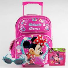 ^Free S&H Disney Minnie Mouse Large Rolling Backpack and Minnie Wallet and Sunglasses Set