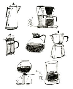 """How do I love thee, let me count the ways"" Coffee Maker - French press - Espresso - Illustration Print. I Love Coffee, Coffee Art, Coffee Cups, Coffee Maker, Drawing Coffee, Coffee Break, Iced Coffee, Morning Coffee, Coffee Brewers"