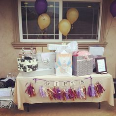 Gift table! Purple and gold bridal shower