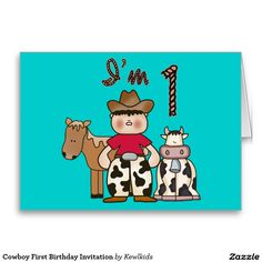 Cowboy 1st Birthday Fill -in Invitations Stationery Note Card and birthday set, shirts, buttons, stickers, stamps.