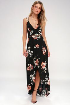 Feel the breeze in the Lulus Harbour Island Black Floral Print Maxi Dress! Gauzy, lightweight, woven fabric in a fresh floral print dances over the V-neckline and princess seamed bodice. A pierced crochet waist tops a surplice maxi skirt with a high-low hem. Free shipping and free returns!