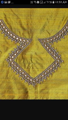 Cutwork Blouse Designs, Saree Blouse Neck Designs, Bridal Blouse Designs, Embroidery On Kurtis, Kurti Embroidery Design, Magam Work Blouses, Mirror Work Kurti, Stone Work Blouse, Chudidhar Neck Designs