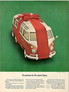 "Volkswagen Ad - It's Own Box | Volkswagen T2 Microbus Deluxe model 244 | first built in 1951 | splitting the windshield and roofline into a ""vee"" helped the production Type 2 achieve a drag coefficient of 0.44"