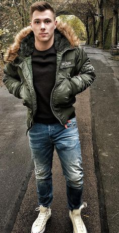 Man in Bomber Jacket with Fur Collar
