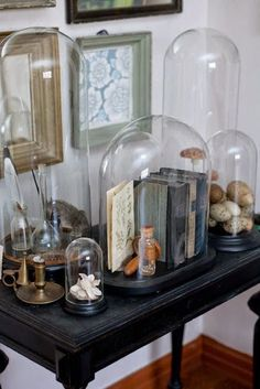 Decorating Under Glass With Cloches And Domes - decoration,wood,wood working,furniture,decorating The Bell Jar, Bell Jars, Cage Deco, Cloche Decor, Cabinet Of Curiosities, Interior Decorating, Interior Design, Decorating Jars, Apothecary Jars