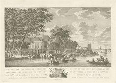 Jan Evert Grave | Uittocht van 600 gewapende Amsterdamse burgers naar Utrecht, 17 juli 1787, Jan Evert Grave, Jacob van Werven, 1788 | Onder het toeziend oog van het toegestroomd publiek bij herberg de Berebijt vertrekken zeshonderd Amsterdamse burgers op 17 juli 1787 uit Amsterdam naar Utrecht, om daar het patriottenleger aan te vullen. De prent heeft een Nederlands en Frans onderschrift.