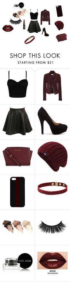 Black and burgundy by cupcakesydney on Polyvore featuring Balenciaga, Pilot, MICHAEL Michael Kors, Maison Takuya, Keds, Urban Decay, Smashbox and Bobbi Brown Cosmetics
