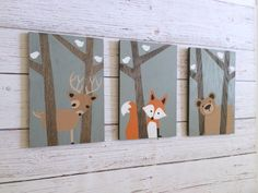 Animal Nursery Art - Woodland Animal Nursery Decor - Forest Animals - Baby Animal Sign - Fox Sign - Deer Sign - Animal Paintings Wall Art This hand painted woodland animal nursery set will make the perfect addition to any Forest animal or woodland themed nursery! Baby Animal Paintings Measures approximately 8x 12 on stained wood. Gray backgrounds. All come ready to hang with sawtooth hangers on back. All of my work is imagined, painted and completed by me- start to finish.  Copyright 2015…