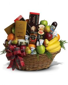 The Ultimate Christmas Basket. Is your lucky someone in the mood for something sweet or savory, juicy or crunchy, creamy or refreshing? No need to guess with this gourmet Christmas gift basket - it's got it all! A generous corporate holiday gift with personal gift basket delivery service, it's packed with fresh fruit, gourmet chocolates, soft cheeses, summer sausage, cookies, crackers. everything a foodie could hope for. So much more than just cheese, crackers and fruit in a basket, it…