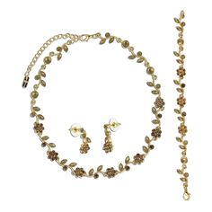 BERRICLE-Gold-Tone-Rhinestone-Bridesmaids-Choker-Necklace-Earrings-Bracelet-Set