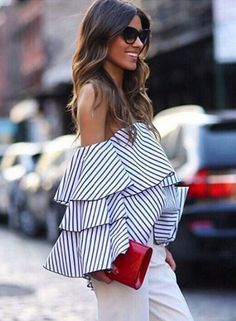 Striped off the Shoulder Ruffled Blouse - OASAP.com